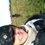 Holly behind me...a tad muddy.